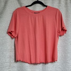 Forever 21+ Coral 90's Ruffle Style Crop Top